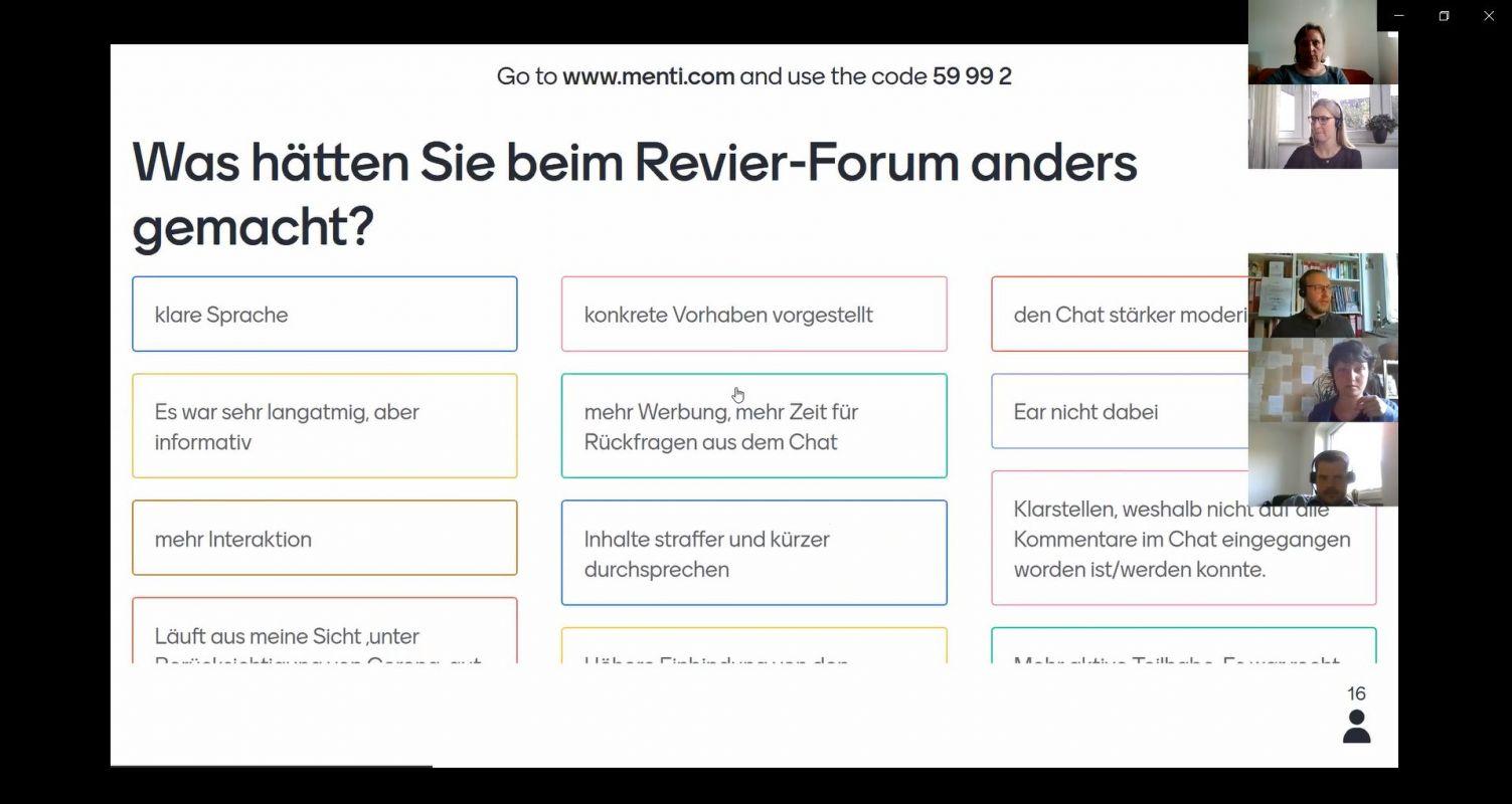 Ergebnisse der Umfrage zum Revier-Forum