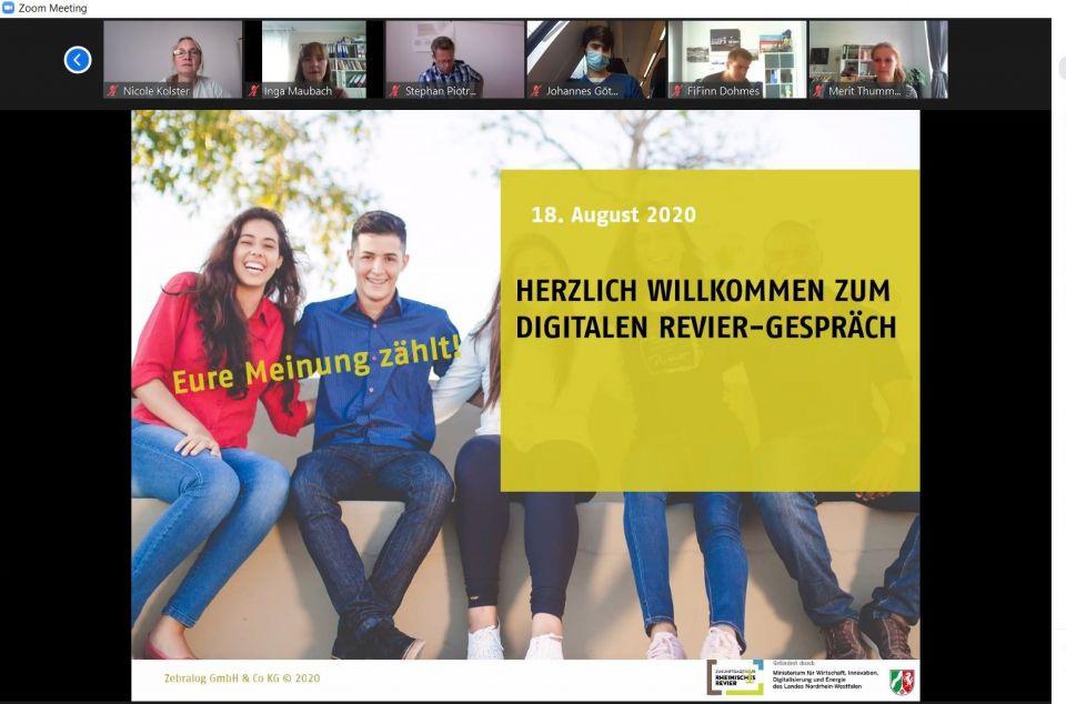 Screenshot aus dem digitalen Revier-Gespräch mit jungen Menschen - Willkommensfolie