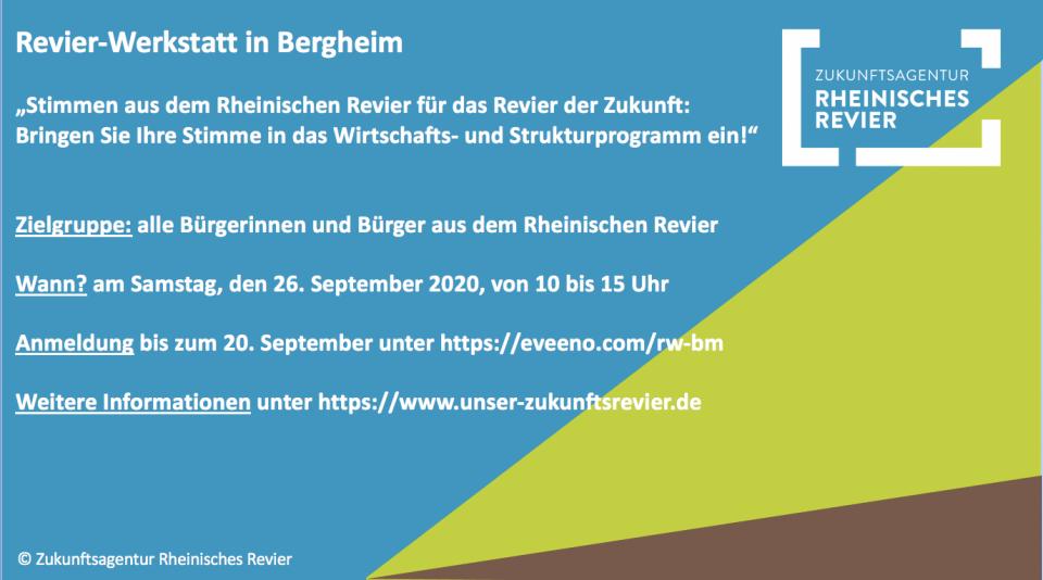 Hinweis zur Revier-Werkstatt am 26.9. in Bergheim