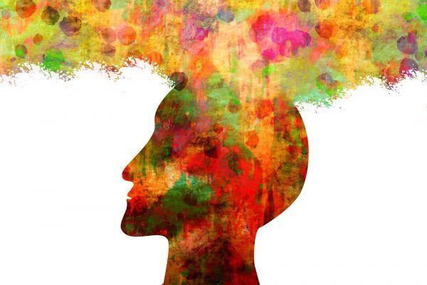 bunte Farben einer Gesichtsilouette