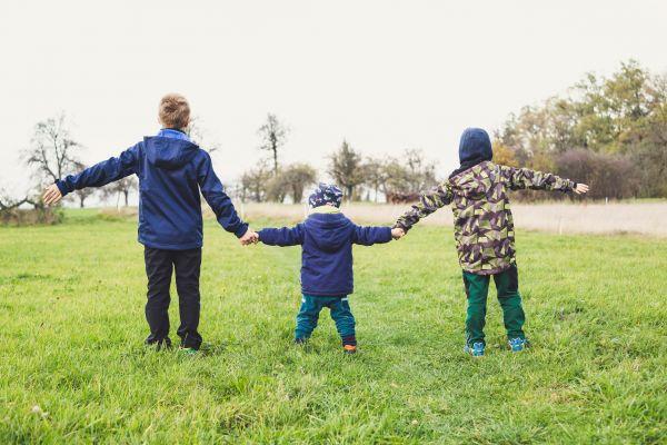 Drei Kinder halten sich an der Hand auf einer Wiese